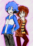 Mordecai and Rigby anime style by Mary147