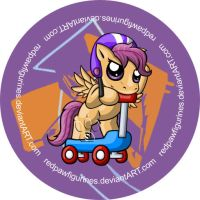 Scootaloo Chibi Badge by RedPawDesigns