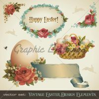 Victorian Easter Design Elemen by kingofvectors
