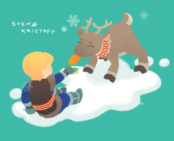 sven with kristoff by mongoosegoose