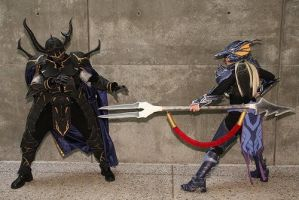 Kain and Golbez Duel by Xemnass