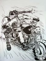 Crazy Motorcycle Guy (Kinda Like The Punisher) by Drawer888
