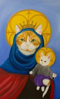 Mama Cat and Finn as Mary and baby Jesus by Wolfs-Rain-Alchemist