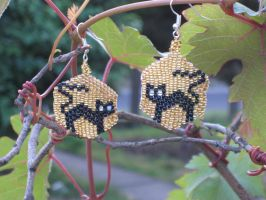 Black Cat Earrings by Hope555