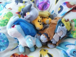 Shiny Legendary Beast Pokedolls by Fishlover