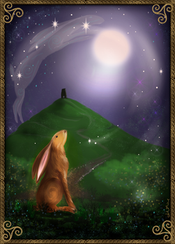 Moon gazing hare by AliMacArt