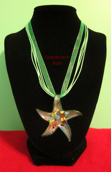 Green Ribbon Starfish Necklace by BloodRed-Orchid
