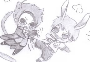 chibi prussia and austria fighting by kuroineko99