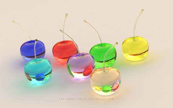 3D Clear Glass Cherries by THE-LEMON-WATCH