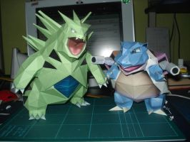 Tyranitar and Blastoise by DeityKnight-Omega