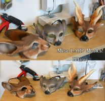 January 2015 batch of larp masks by Magpieb0nes