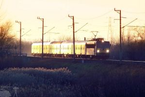 V63 with fast train in sunset by morpheus880223