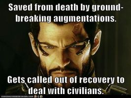 Poor Adam Jensen by SilverWerewolf09