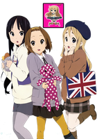 K-on! Mio, Ricchan And Mugi Render by MayMugiLee