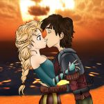 Kiss Elsa and Hiccup by Andreiitaa97