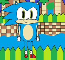 Sonic in GreenHill Zone by Shadethefox15