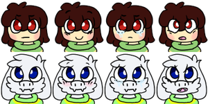 Chasriel faces by Cosmic-Eevee