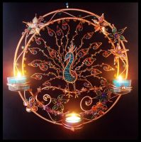 Peacock candle holder at night by illustrisdesigns