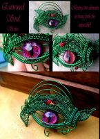 Wire Wrap - Emerald Rose Red Dragon Evil Eye by LadyPirotessa
