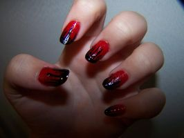 Red Eyeless Jack themed nails by GingaAkam