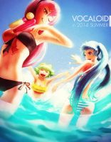 Vocaloid in summer by ta-ku-zou