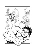 Deadpool vs. Hulk Lineart by sirandal