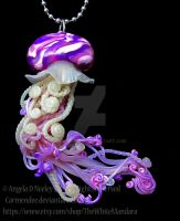 pink and purple jellyfish necklace by carmendee