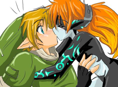 Link and Midna kiss by angelofhapiness3