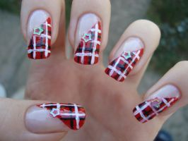 Red plaid nails by DancingGinger