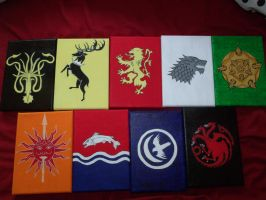 Commission 1: All Nine Major House Sigils by SkeleQueen
