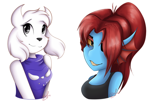 Undyne and Toriel by BluUmbrelu