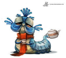 Daily Painting 771. Labyrinth Worm by Cryptid-Creations