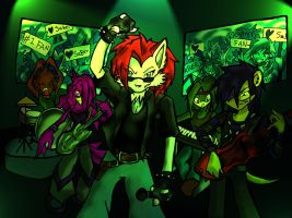 Saber Darkwolf and the Band by Miffix