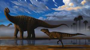 Diamantinasaurus and Australovenator by MicrocosmicEcology