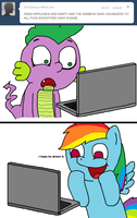 Rainbow Dash messages Spike by Spikandfrends