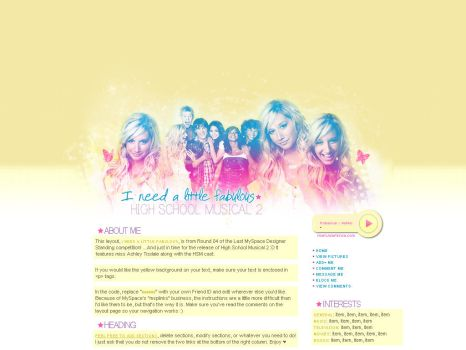 Fabulous HSM2 MySpace layout by ribcages
