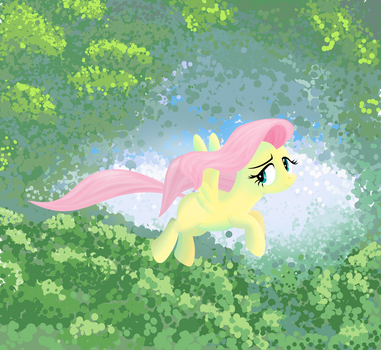 Fluttershy in a forest by tgolyi
