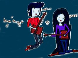 Marceline y Marshall Lee tocando la guitarra by Aelita222