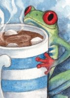 Cacao frog ACEO by Pannya