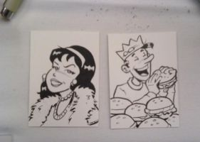 Veronica and Jughead Sketch Cards by Steevcomix