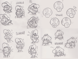 Mario Head Sketches by JamesmanTheRegenold