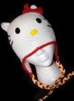 Hello Kitty Beanie with Earflaps by rainbowdreamfactory