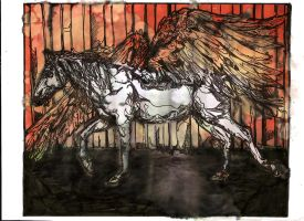 The Prison winged Line Horse by lamelobo