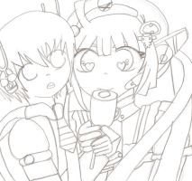 Tone Rion and Ryuto Gachapiod eating a corn dog by dbcupcake