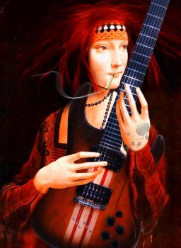 The Lady with Electric Guitar by GilianSeed
