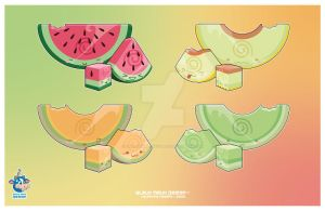 Kawaii Summer Melon Trios by KawaiiUniverseStudio