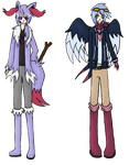 Shiny Braixen and Swellow Gijinka Adopts SET PRICE by FelixFox1991