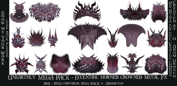 Mega Pack - Unearthly Eccentric Horned Crowned Met by ArtwithoutabrushFx
