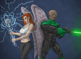 Hawkgirl and Green Lantern drawing by Evil1991