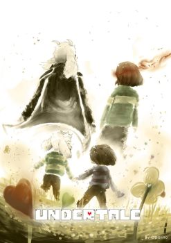 Asriel and Frisk (and Chara) Fanart by Opalino